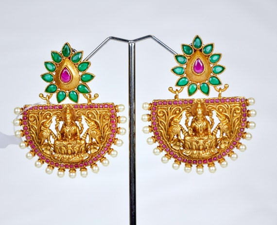 Antique nagas lakshmi earrings in red and green with pearls | Indian Jewelry | Indian Earrings | temple jewelry temple earrings