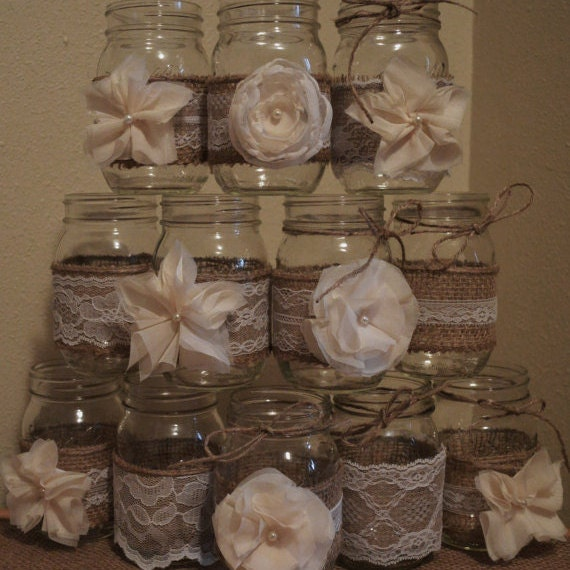 Diy Burlap Wedding Ideas: 10 Burlap Mason Jar Sleeves DIY Wedding Decorations Rustic