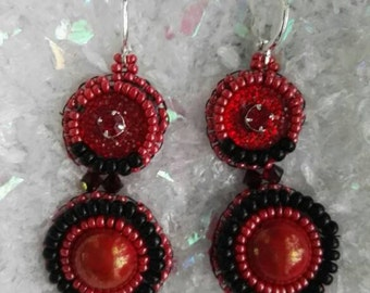 Earrings red and Black 4cm