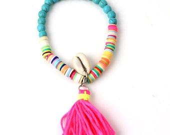 Pearl bracelet, shell and tassel BALI