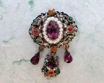 Vintage dangle brooch enamel and colorful rhinestones AB989