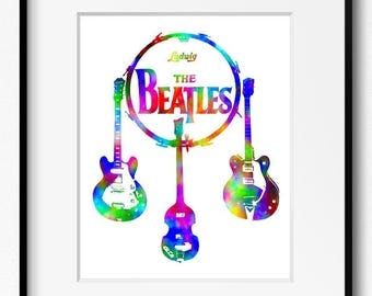 The Beatles Watercolor Art Print (P2011) John Lennon, Paul McCartney, George Harrison, Ringo Starr, Guitar,Drums, Abstract,Bass, Music