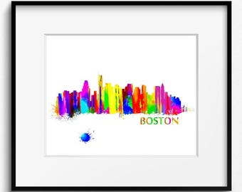 Boston Skyline Watercolor Art Print (008)