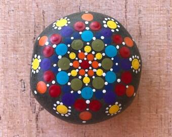 Rainbow mandala dot painted rock