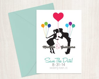 Save the Date Balloons kissing silhouettes DIY Printable