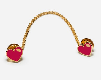 Red Heart, 3-Way Lapel/ Collar Pins