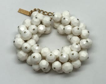 Gorgeous Moschino Off White Faceted Resin Beaded Bracelet