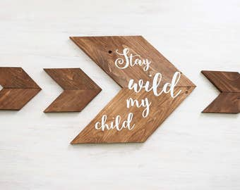 Woodland Nursery Decor- Above the Crib Nursery Decor- Stay Wild My Child Nursery Set- Gender Neutral- Nursery Wall Art- Rustic Nursery Decor