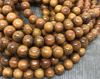 Smooth Round Golden Brown Bayong Wood Beads, Wooden Mala Beads, Waxed Wooden Beads, Natural Brown Bayong Beads, 8mm - 50 beads (W8-30)