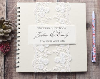 Beautiful Vintage Lace Wedding Guest Book - Handmade and Personalised with Pretty Ivory Lace