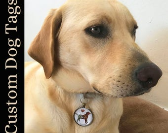 Custom Dog Breed ID Tag personalized with name and phone number