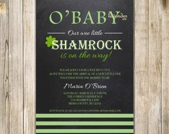 LITTLE SHAMROCK Baby Shower Invitation, O'Baby Shamrock On the Way Invite, Irish St Patrick Baby Girl Baby Boy Shower, Digital Diy Printable