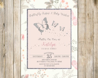 BUTTERFLY Kisses BIRTHDAY Invitation, Blush PINK Silver Butterflies Invite, Floral Girls 1st Birthday Party, Magical Enchanted Garden Tea