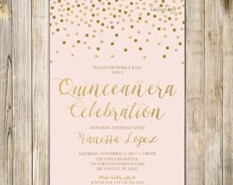 BLUSH PINK QUINCEANERA Birthday Invitation, Printable Sweet 15 Birthday Invite, Gold Confetti Pink, Teen Fiesta de Quince Años 15th Birthday