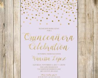 LAVENDER QUINCEANERA Birthday Invitation, Printable Sweet 15 Birthday Invite, Purple Gold Confetti, Teen Fiesta de Quince Años 15th Birthday