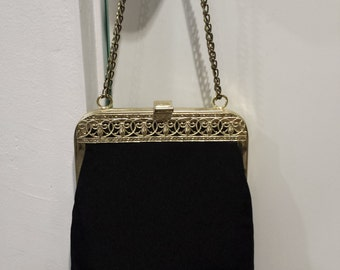 Mid Century Black Taffeta Gold Ornate Metal Frame Chain Handle Handbag Purse