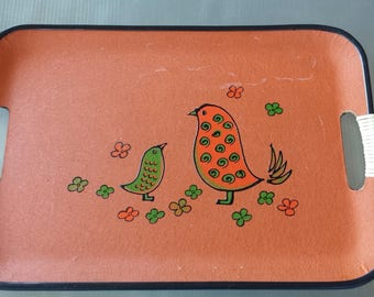 Mid Century Partridge Bird Serving Tray with Handles Fiberboard Orange and Green Birds Flowers