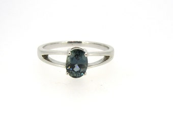 Sterling Silver and Teal Sapphire Ring