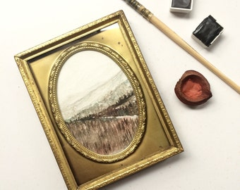 Subducere / tiny original watercolor painting in gold thrift store frame / mountains + forest landscape art