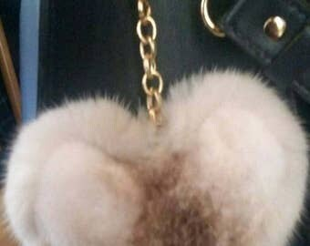 Spring offer! Buy TWO and get a THIRD one for free!Any colors.Beautiful  Hearts-Keychains from Mink fur!