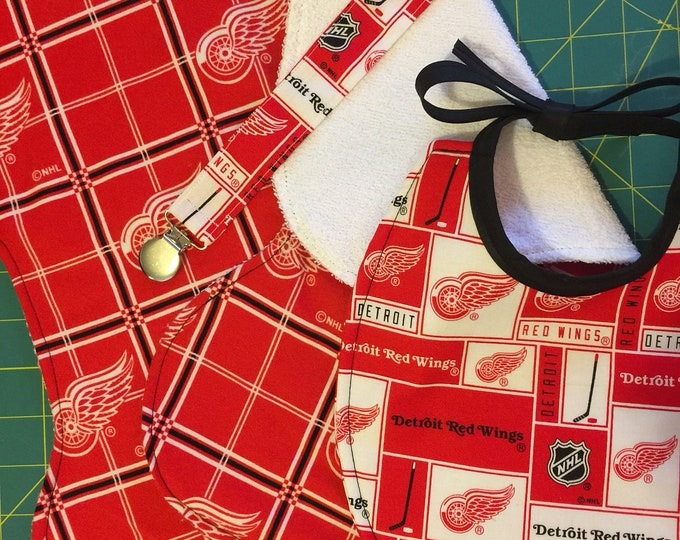 Baby Bib Gift Set, Detroit Red Wings Inspired Fabric, Bib, 2 Burp Cloths, Pacifier Clip