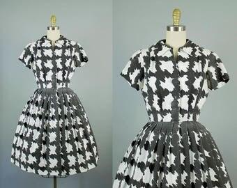 1950s black and white pattern dress/ 50s novelty cotton shirtwaist dress/ medium