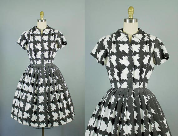 1950s black and white pattern dress/ 50s novelty cotton shirtwaist dress/ medium
