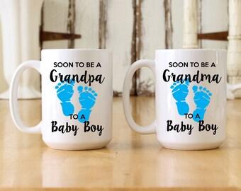 Soon To Be A Grandpa & Grandma To A Baby BOY (Blue Footprints) Large 15 oz Coffee Mug Set - Pregnancy Reveal New Grandparents (OHC126-Set)