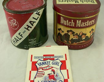 VINTAGE CIGAR TINS and Chewing Tobacco Pouch: Dutch Masters, Half and Half, Yankee Girl