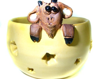SALE FUN Pottery Hand Thrown  GOAT Candle Bowl/Holder  Hand cut Stars  Tea Light Hostess Gift Holiday Gift Farm Animal Hand Made