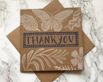 Thank you card, thank you note, hand printed card, wedding thank you, care card
