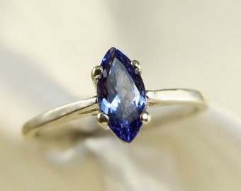 Tanzanite Solitaire 10x5mm .93ct Marquise Ring in 925 Sterling Silver