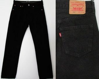 Levis 501 jeans, black denim, straight leg, mens pants trousers, waist 32, leg 34