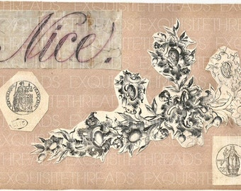 Digital Download French Antique scrapbook 1800s Nice stamp floral flourish engraving, collage mixed media art jpg, printable paper goods