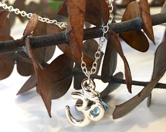 """Silver """"Om"""" Charm Turquoise Swarovski Crystal Pendant Necklace, Spiritual Jewelry, Yoga Necklace, Birthday Gift Idea, Gifts for Her"""