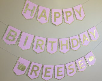 Little Pumpkin  Birthday Banner - Pink & Gold - First Birthday Decorations - Pink and Gold Party - Little Pumpkin Party - Pumpkin Banner