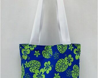 Hawaiian Hibiscus Blue & Lime Fabric Tote Bag