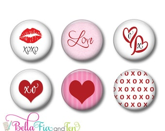 Love and Kisses  Set of 6 Magnets or Button Badges 1 Inch (2.5cm)
