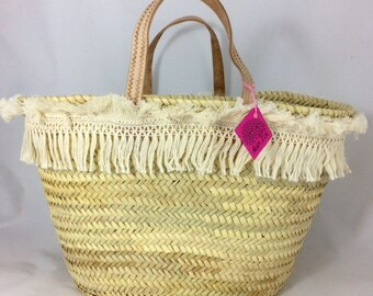 Natural Fringe Beach Basket, Macrame Fringe, Monogram For Free