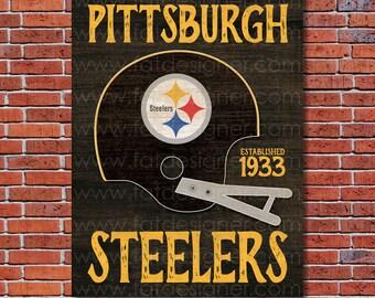Pittsburgh Steelers - Vintage Helmet - Art Print - Perfect for Mancave