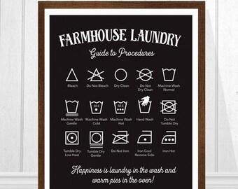 Farmhouse Laundry, Laundry Sign, Laundry Room Art, Laundry Symbols, Farm Decor, Farmhouse Rules Art Print