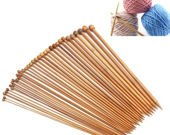 "36 Pieces 18 Sizes Carbonized Bamboo Single Pointed Smooth Knitting Needles  10"" Long"