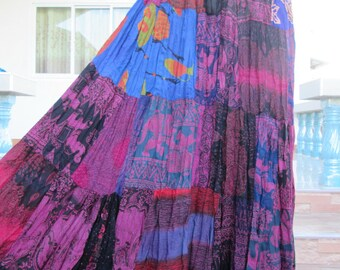 Patchwork Skirt Boho Hippie Skirt Bohemian Gypsy Skirt Comfy Summer Skirt No.13