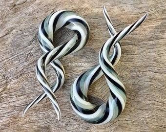 "Black, White & Silver Double Twist Glass Shapes 10g 8g 6g 4g 2g 0g 00g 7/16"" 1/2"" 9/16"" 5/8"" 2.5 mm 3 mm 4 mm 5 mm 6 mm 8 mm 10 mm - 16 mm"