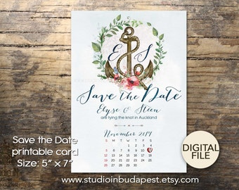 Nautical Save the date card, nautical wedding, floral anchor wedding, Save the date card, Anchor save the date, PRINTABLE