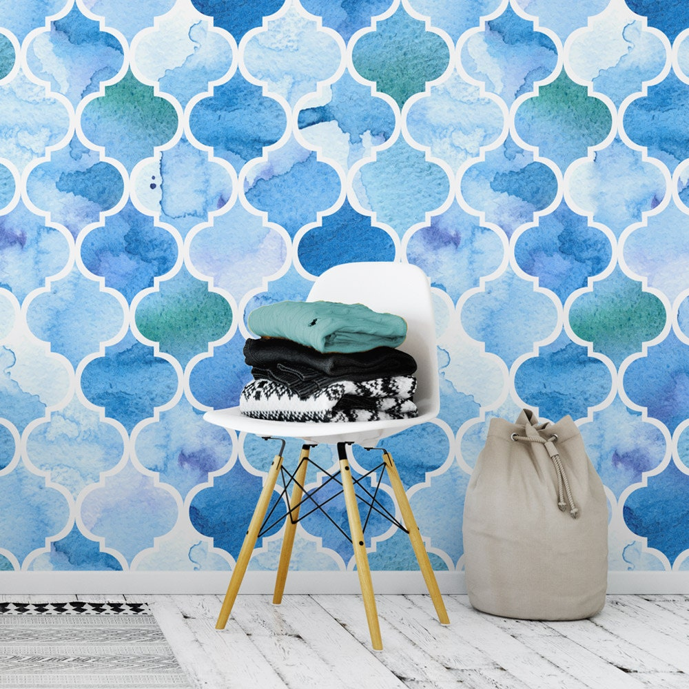 Moroccan Wall Decor Watercolor Wallpaper Removable