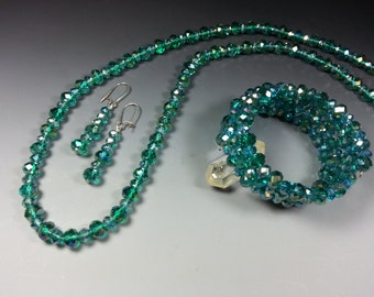 ON SALE....Sparkling Aurora Teal Green Crystal Necklace and Bracelet Set with FREE Matching Earrings