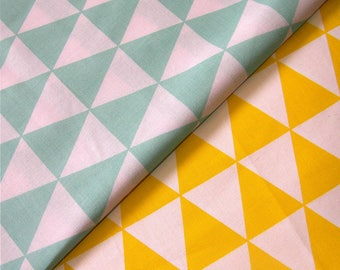 100% Cotton Fabric - Yellow&White Triangles or Turquoise and White Medium size  - Cotton Print Fabric  optional sizes