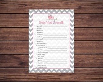 Pink Owl Word Scramble Baby Shower Game, Owl Baby Word Scramble Shower Game, Gray Grey Chevron Instant Download Printable 369