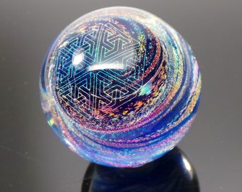 43mm Double Sacred Geo Mandala over Dichroic Swirl Borosilicate Glass Lampworked Marble